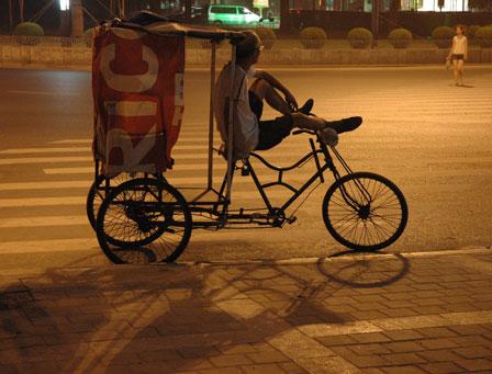 En cykeltaxa venter på kunder