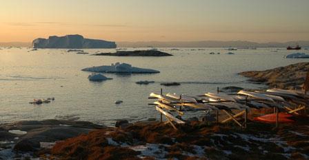 Solnedgang over Disco Bugten, Ilulissat