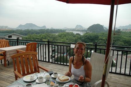 Morgenmad med udsigt. Eva Inn, Guilin