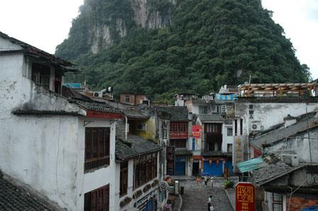 Udsigt over Yangshou fra Hotel Explorer