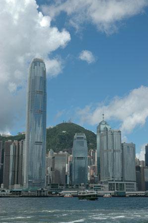 Hong Kong Island set fra Kowloon-siden