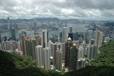 Hong Kong det fra The Peak. Kowloon i baggrunden.