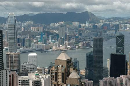 Kowloon og det kinesiske fastland i baggrunden